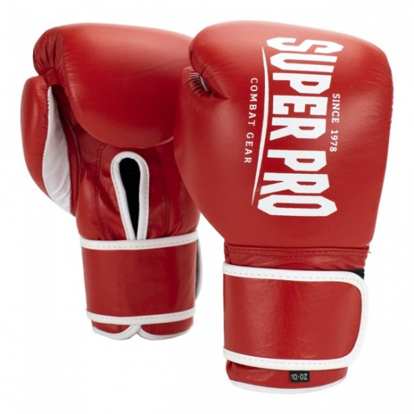 Super Pro Combat Gear Winner Wettkampfhandschuhe Klettverschluss Rot/Weiß