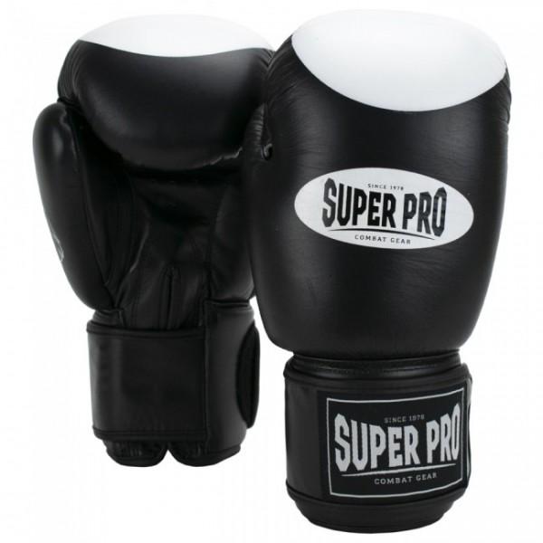 Super Pro Combat Gear Boxer Pro Boxhandschuhe Klettverschluss Schwarz/Weiß