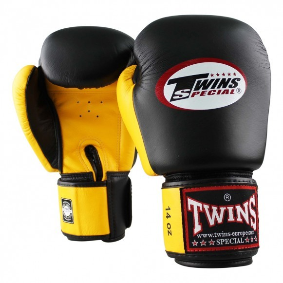 Twins Boxhandschuhe BGVL 3 Leder Schwarz Gelb