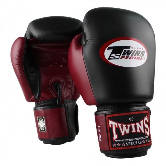 Twins Boxhandschuhe BGVL 3 Leder Schwarz Weinrot