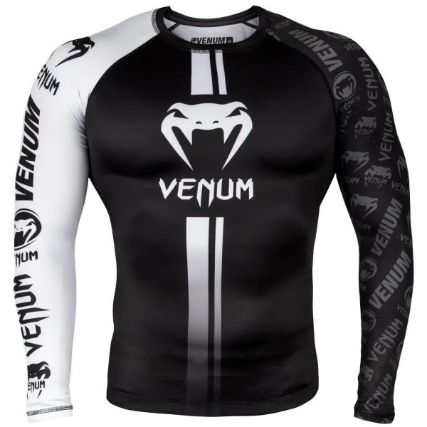 Venum Logos Rashguard Langarm - Schwarz/Weiß