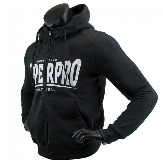 Super Pro Hoodie mit Zipper S.P. Logo Schwarz/Weiß