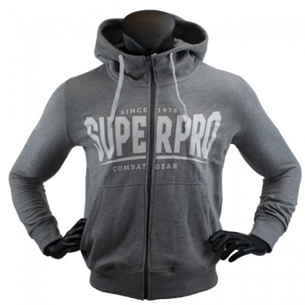 Super Pro Hoodie mit Zipper S.P. Logo Grau/Weiß