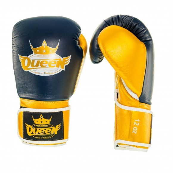 Queen Pro 2 Damen Boxhandschuhe Blau Gold