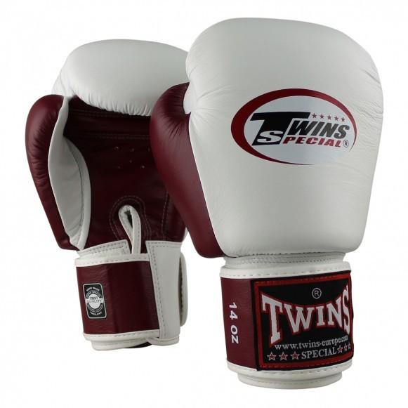 Twins Boxhandschuhe BGVL 3 Leder Weiß Weinrot