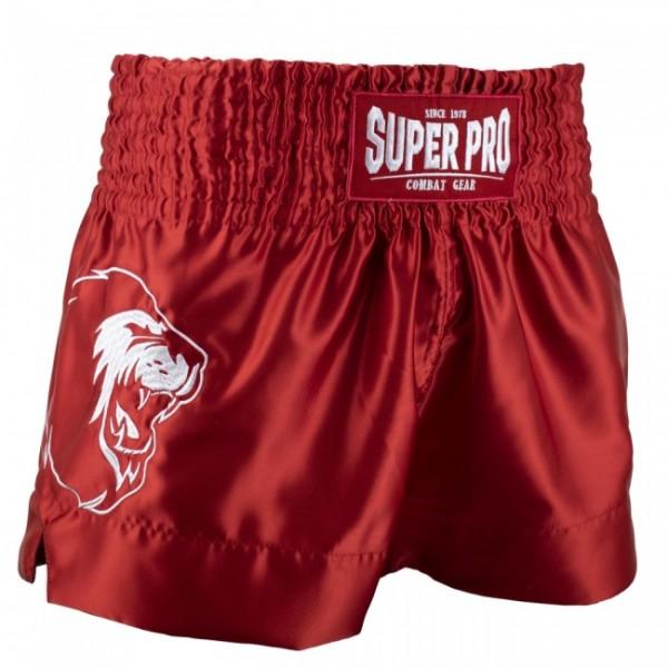 Super Pro Combat Gear Thai- und Kickboxing Short Hero Rot/Weiß