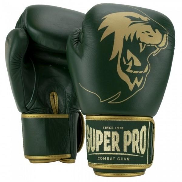 Super Pro Combat Gear Warrior SE Leder Boxhandschuhe Grün/Gold