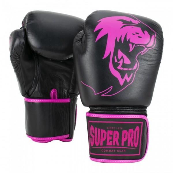 Super Pro Combat Gear Warrior Leder Boxhandschuhe Schwarz/Pink