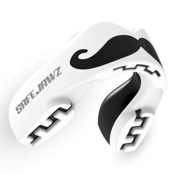 Safejawz Mundschutz Extro-Series Moustache Weiß/Schwarz Junior