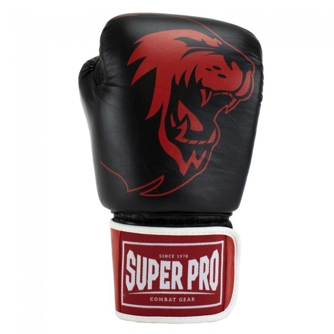 Super Pro Combat Gear Warrior SE Leder Boxhandschuhe Schwarz/Rot/Weiß