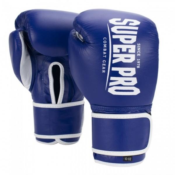 Super Pro Combat Gear Winner Wettkampfhandschuhe Klettverschluss Blau/Weiß