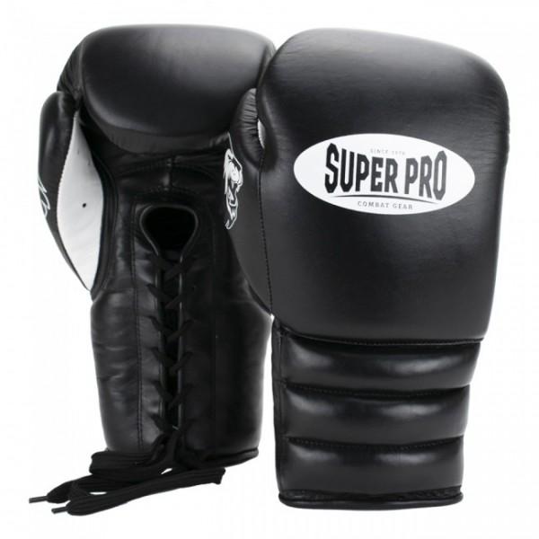 Super Pro Combat Gear Knock Out Boxhandschuhe Schnürung Schwarz/Weiß