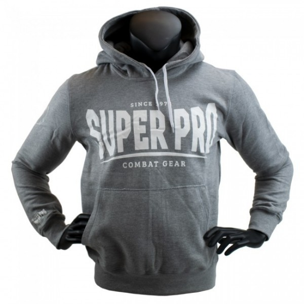 Super Pro Hoodie S.P. Logo Grau/Weiß