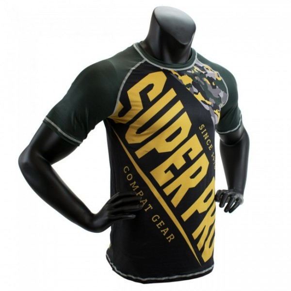 Super Pro Combat Gear T-Shirt Sublimation Camo Schwarz/Grün/Gold