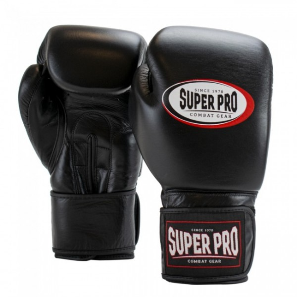 Super Pro Combat Gear Thai-Pro Leder (Thai-)Boxhandschuhe Schwarz