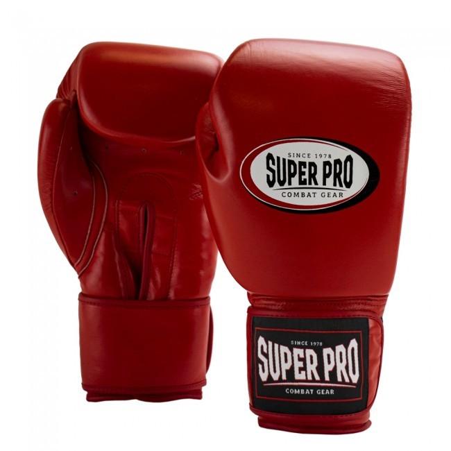 Super Pro Combat Gear Thai-Pro Leder (Thai-)Boxhandschuhe Rot