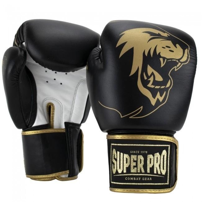 Super Pro Combat Gear Warrior SE Leder Boxhandschuhe Schwarz/Gold/Weiß