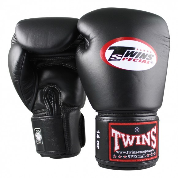 Twins Boxhandschuhe BG-N langer Klettverschluss Leder Schwarz