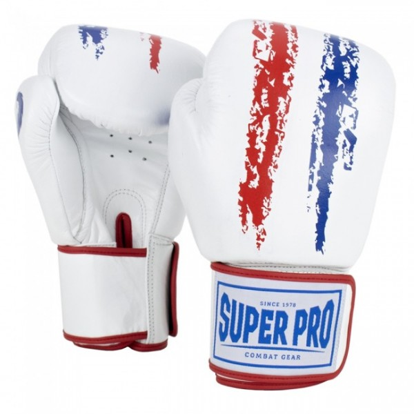 Super Pro Combat Gear Warrior Leder Boxhandschuhe Rot/Weiß/Blau