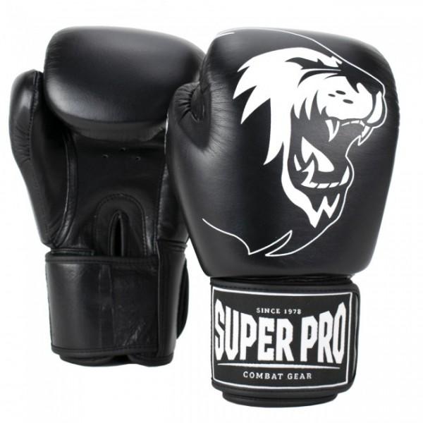Super Pro Combat Gear Warrior Leder Boxhandschuhe Schwarz/Weiß